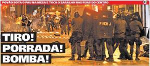 Manchete da versão em papel do jornal Meia Hora
