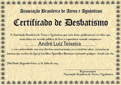 Diploma de desbatismo emitido após a cerimônia