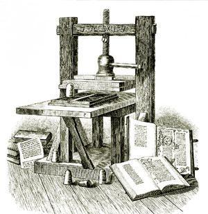 Um dos modelos de prensa móvel, invenção de Gutenberg