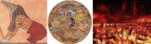 Ammit, a Roda de Samsara e o Tártaro. A idéia do castigo para os pecadores era diferente para cada crença.