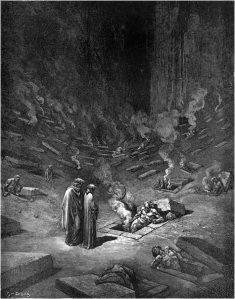 Hereges queimando no fogo do inferno. Passagem da Divina Comédia ilustrada pelo artista Gustave Doré.